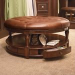 Leather Ottoman Round Coffee Tables With Storage Drawers