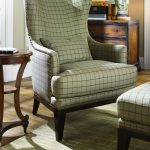 Light Green Squared Pattern Of Chairs With Ottomans For Living Room