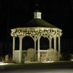 Lighted Gazebo With Outdoor Design And White Wooden Style