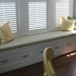 Long Green Cushions For Window Seats With Four Pillows And White Shades
