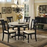 Lovely Round Granite Dining Table Set With Cool Chandelier