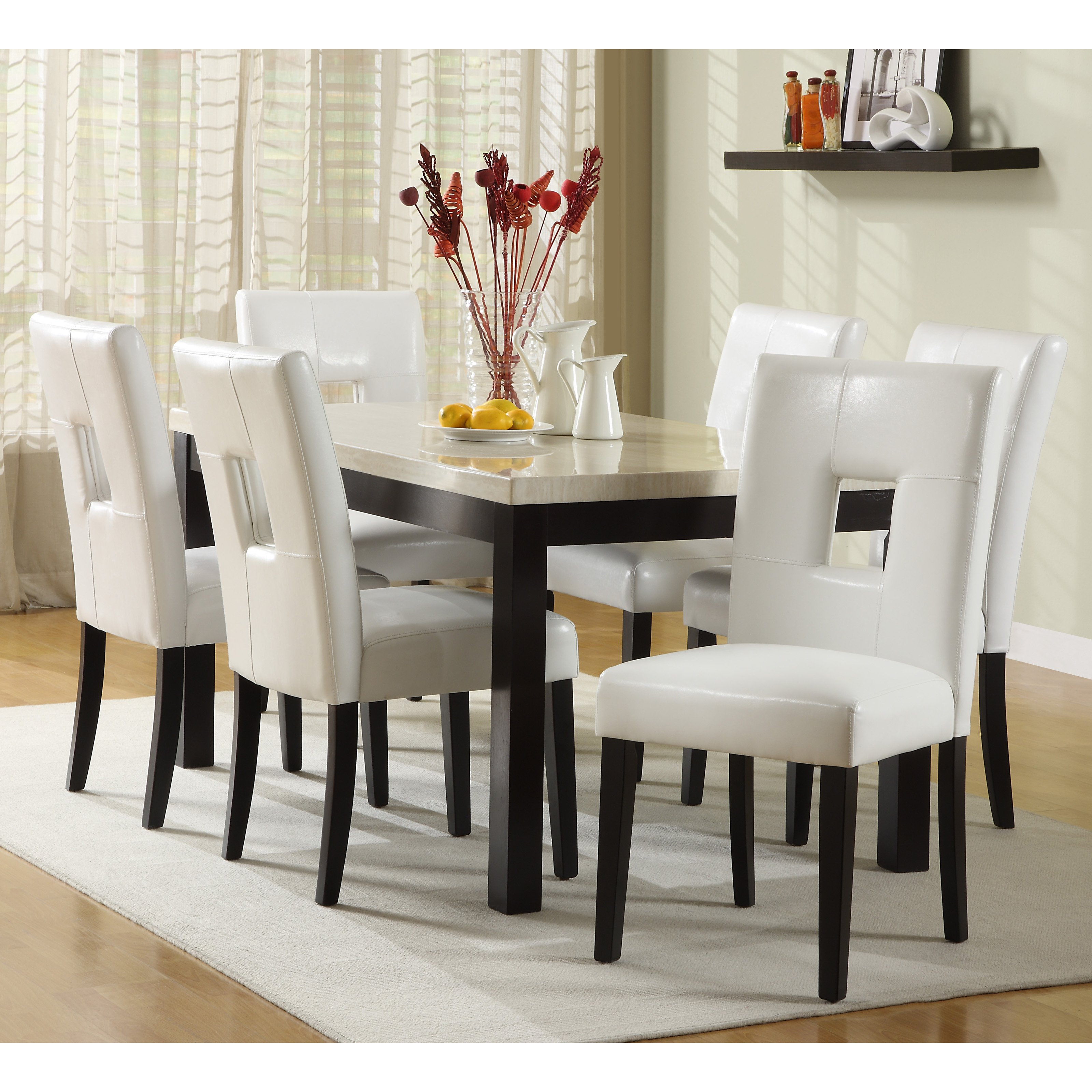 Marble Kitchen Table And Six White Chairs Carpet Curtain
