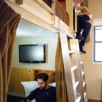 Men Quadruple Bunk Beds With Double Stairs And Curtains