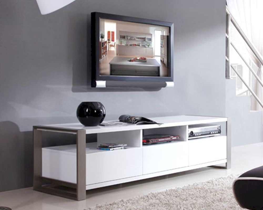 White Lacquer Media Console HomesFeed