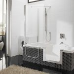Modern Small Bathtubs With Shower Washing Machine Fur Rug