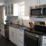Modern White Kitchen With White Cabinet Set And Ikea Stainless Steel Backsplash