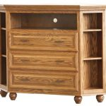 Natural Wooden Tall Media Chest With Drawers And Racks
