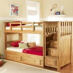 Natural Wooden Toddler Bunk Beds With Stairs And Drawers