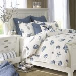 Wonderful Nautical Bedroom Furniture Decor With Blue Coastal Nautical Shell Bed Sheet And White Wood Furniture Images