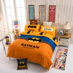 Orange Batman Superhero Bedding Sets With Hello Kitty Rug And Dolls