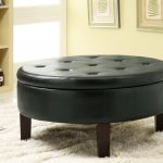 Ottomans Black Round Coffee Tables With Storage On White Fur Rug