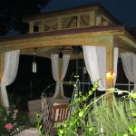 Outdoor Elegant Gazebo With Romantic Lighting And White Curtains