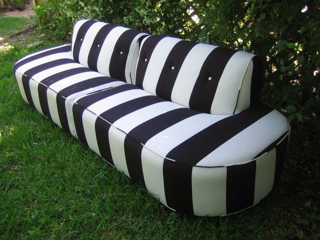 Elegant Black And White Striped Couch Homesfeed