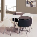 Oval Marble White And Black Space Saver Dining Set