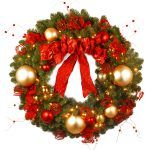 Pictures Of Christmas Wreaths For Front Door With Gold Accessories And Red Ribbon