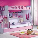 Pink White Toddler Bunk Beds With Stairs For Girl Complkete With Storage Dolls And Rug