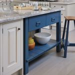 Pretty Blue And White Color Of Stand Alone Kitchen Islands With Marble On Top And Stool