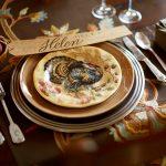 Pretty Helen Thanksgiving Dinnerware Sets Design With Leaves Base Design