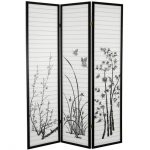 Pretty Plants And Butterfly Pattern On Shoji Screen Ikea