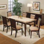 Rectangular Granite Dining Table Set With White Fur Rug