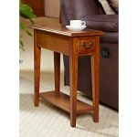 Rectangular Small End Table With Drawer And Brown Sectional For Living Room