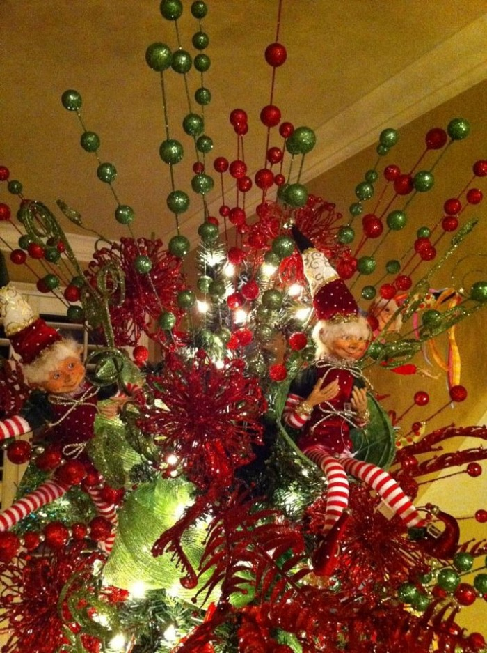 Red And Green Of Unique Christmas Tree Toppers