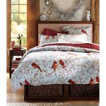 Red And White Bird Theme Of Winter Duvet Covers And Storage Place Inside The Bed