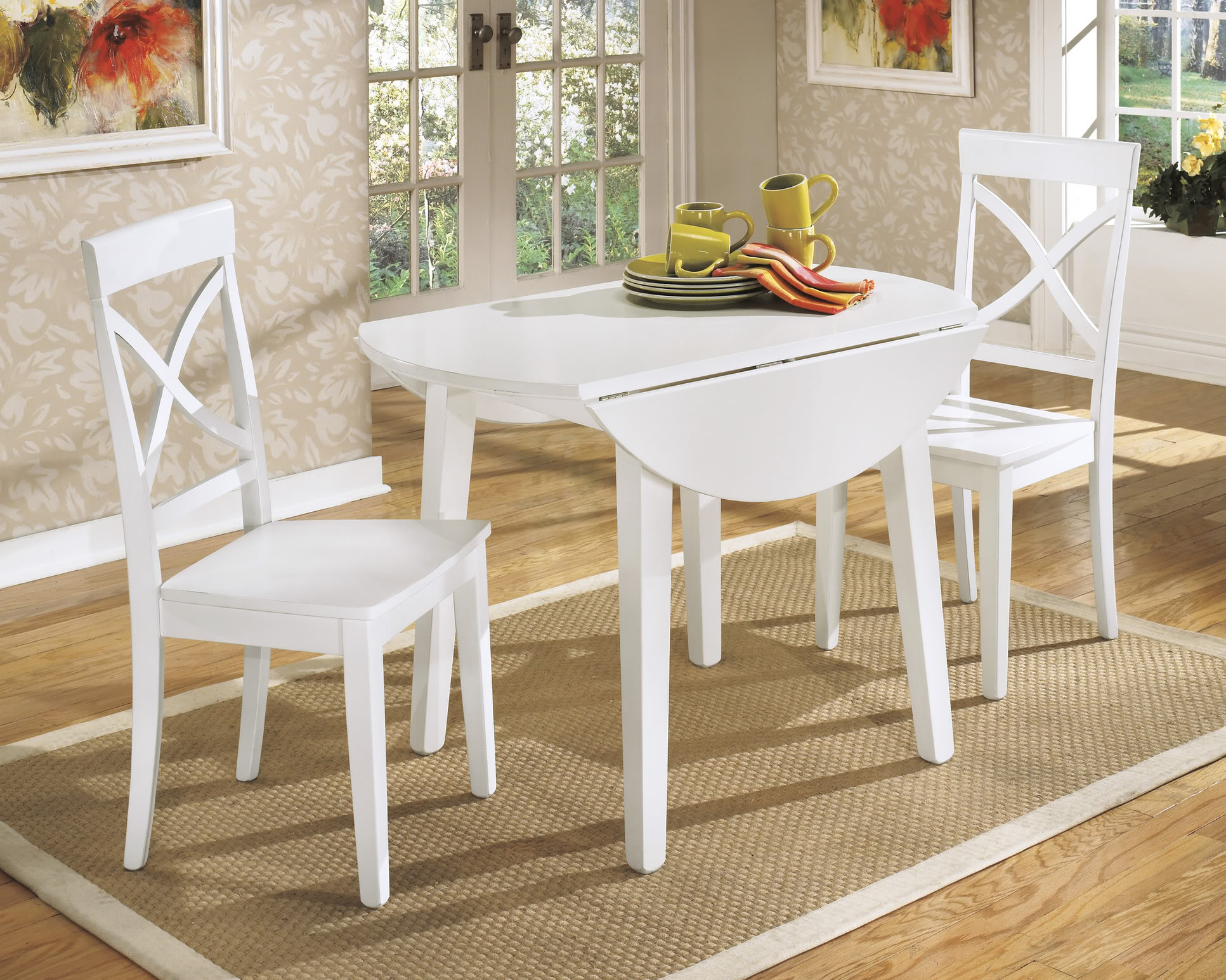 Round White Painted Wooden And Two Chairs Square Rug Stylish Wallpaper On Wall With Frames Table