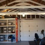 Simple Garage Finishing Ideas With Exposed Beams And Rack With Basket Storage
