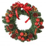Simple Pictures Of Christmas Wreaths With Natural Accessories And Red Ribbon