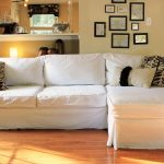 Simple White Slipcovers For Sectional Couches And Leaves Patterned Pillows