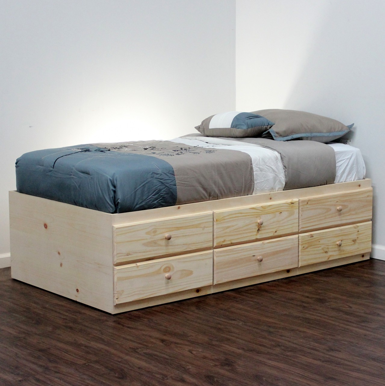 Simple Wooden Twin Bed With Drawers Underneath And Grey Blue