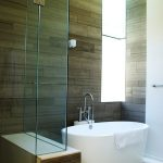Small Bathtubs With Shower And Glass Door With Unique Wooden Tile Style On Wall