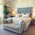 Small Loveseat For Bedroom WIth Blue Bedding Design And Double Table Lamps With Chairs