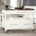 Small White Kitchen Island Wooden And Steel Combination Design