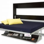 Smart Bed Open For Guest Bed Solution With Dark Blue Mattres And Black Wooden Frame