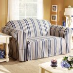 Striped Couch Slipcover With Side Table