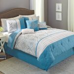Stylish White Blue Better Homes and Garden Comforter Sets With Grey Rug And Wall