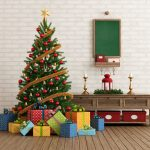 Unique Christmas Tree Toppers With Star And Gifts With Rustic Cabinet And Green Board