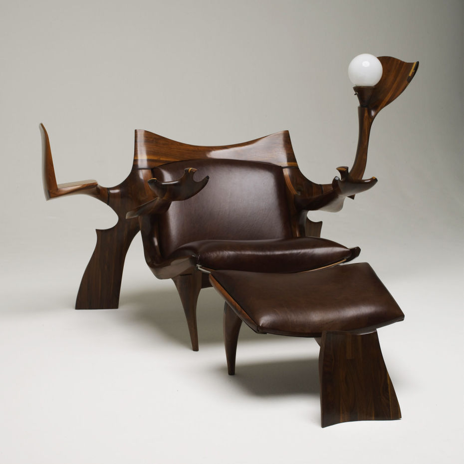 Unique Dark Brown Wooden Chair For Reading