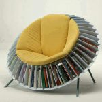 Unique Yellow Reading Chair With Bookshelf Around
