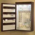 Wall Mounted With Wooden Design Of Hanging Jewelry Armoire
