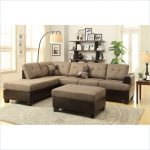 Warm Brown Poundex Bobkona Modular Sectional With Floor Lamp And Shelves