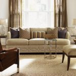 Warm Living Room With Cream Sofa Accent Chair Stylish Carpet And Pillows For Sofas Decorating