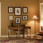Warm Top Rated Interior Paint For Home Office With Wooden Desk Chair And Floor Lamp