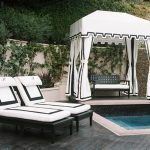 White And Black Pool Cabana With Mini Pool
