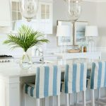 White Blue Design Of Bar Stool Slipcovers With Double Glass Chandelier And White Kitchen Cabinet Set
