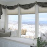 White Cushions For Window Seats With Small Pillows And Grey Curtain