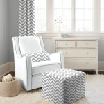 White Grey Glider Zig Zag Design Of Modern Rocking Chair For Nursery With Fur Rug And White Cabinet