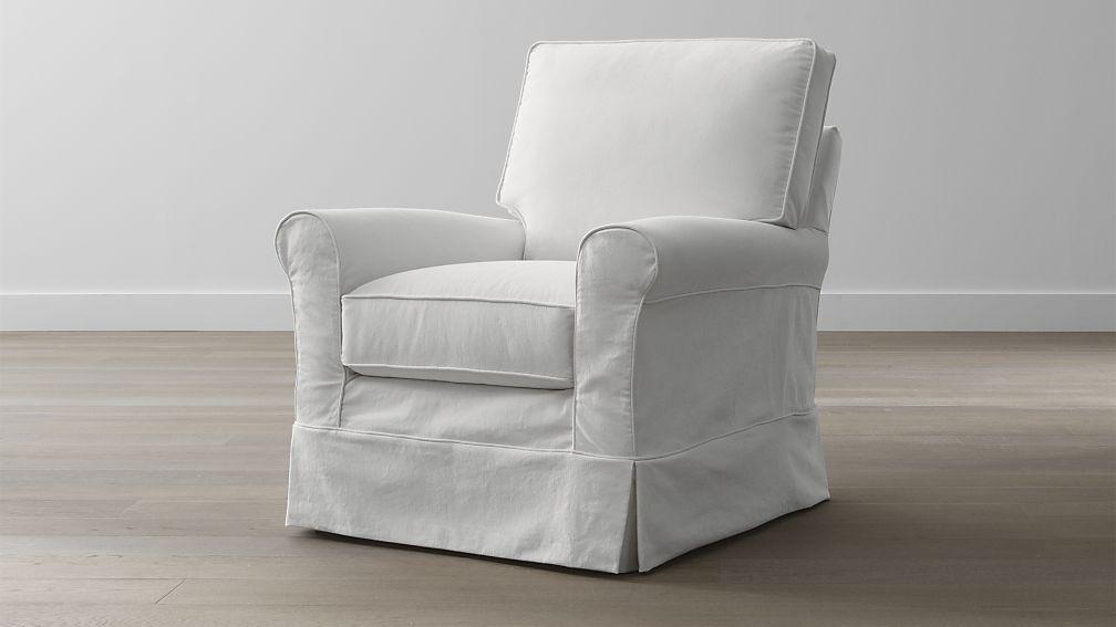 White Hardborside Barrel Chair Slipcovers